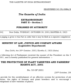 The Protection of Plant Varieties and Farmers` Rights Act, 2001. Photo of original document.